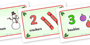 0-10 Display Numbers (Christmas) - Christmas, xmas, Happy Christmas, tree, advent, nativity, numbers, foundation stage numeracy, Number recognition, Number flashcards, counting, number frieze, Display numbers, number posters, santa, father christmas,