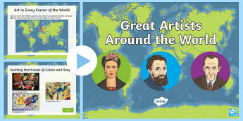 Great Artists Around the World Information PowerPoint - famous artists, art, classic, culture, Mondrian, Kandkinsky, Hokusai, Michelangelo, Munch, Picasso,