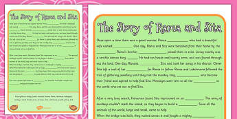 The Story of Rama and Sita Cloze Worksheet - diwali, hinduism