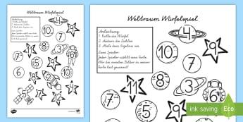 Weltraum Würfelspiel: Addieren und Anmalen - Space Roll and Colour Dice Addition Activity - space, addition, spce, +, adition, soace, spcae, addi