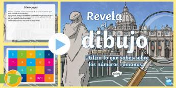 Presentación: Actividad interactiva - Revela el dibujo con los números romanos  - numeración, romana, siglas, actividad, juego, trabajo en grupo, grupo, clase, pregutnas, mates, mat