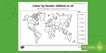Where in the World Shall We Go? Addition to 10 Colour by Number - Exploring My World, Aistear, world map, countries, Number, Addition, Colouring, Irish