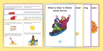 What to Wear in Different Seasons Visual Aid - secondary, KS3, KS4, seasons, clothing, winter, summer, autumn, spring, SEN