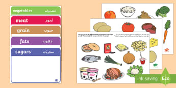 Food Group Sorting Activity Arabic/English - Food Group Sorting Activity - food, food groups, matching cards, sorting cards, cards, flashcards, g