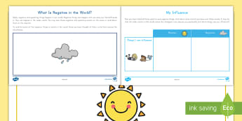 What is Positive and Negative in the World? Activity Sheets - positive, negative, feelings, activity sheets, emotions, worksheet