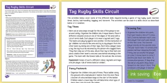 Tag Rugby Skills Circuit Adult Guidance - PE Curriculum Aims KS2, Play competitive game, modified where appropriate, and apply basic principle