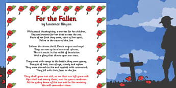 Remembrance Day For the Fallen Poem Sheet (A4) - Remembrance Day, poetry, poem, For The Fallen, Laurence Binyon, banner, posters, sign, A4, 11th November