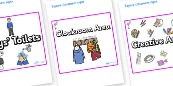 Flamingo Themed Editable Square Classroom Area Signs (Plain) - Themed Classroom Area Signs, KS1, Banner, Foundation Stage Area Signs, Classroom labels, Area labels, Area Signs, Classroom Areas, Poster, Display, Areas