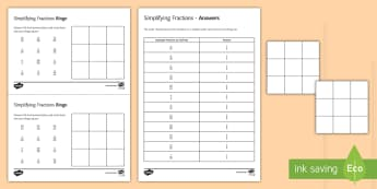 Simplifying Fractions Bingo - simplifying fractions, fractions