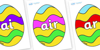 Phase 3 Phonemes on Easter Eggs (Striped) - Phonemes, phoneme, Phase 3, Phase three, Foundation, Literacy, Letters and Sounds, DfES, display