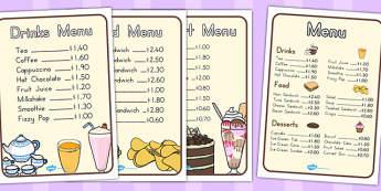Cafe Menus - food, shops, eating, menu, drinks, drinking, list