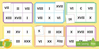 Bingo: Los números romanos - numeración romana, juego, actividad, emparejar, cifras, ,Spanish