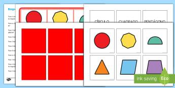 Bingo: Figuras 2D - bingo, juego, figuras 2D, formas planas, figuras planas, formas geométricas, figuras geométricas,