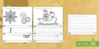 Pirate Themed Pencil Control Activity Sheet - pirate, fine motor skills, pencil control, activity, worksheets