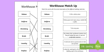 KS1 Workhouse Words and Meaning Matching Activity Sheet - KS1 Workhouses, matching activity, year 1, year 2, life in a workhouse, word descriptions, understan