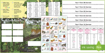 Year 4 Rainforest Themed Spelling Menu Pack - spag, gps, home learning, weekly, lists, test,