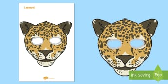 Leopard Mask Template - - leopard, safari, zoo, Africa, jungle, role play, mask