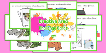 Creative Area Challenge Cards - early years, efys, fact, ideas, independent, role, play, order, messy, fun,