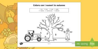 Colora con i Numeri in Autunno - colori, colorare, con, i numeri, autunno, autunnale, italiano, italian