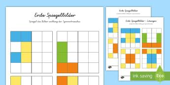 Erste Spiegelbilder 2 Arbeitsblatt: Bilder Muster zum Fortsetzen - Mathematik: Zahlen, Spiegeln, Symmetrie, Kl.1/2, maths, reflections, EYFS/KS1,German