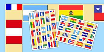 Bordes para murales Banderas de países que hablan español - spanish, speak, speech, spanish speaking, countries, flag, display border
