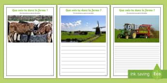 Supports-photos pour la production d'écrits : À la ferme - Écriture, Écrire, Français, Cycle 2, Cycle 3, ferme