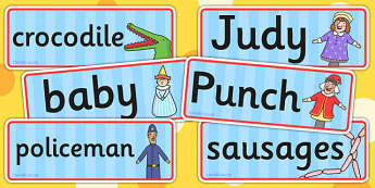 Punch and Judy Word Cards - visual aid, key words, writing aid