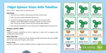 Tabelline con il fidget spinner Gioco da Tavola - tabelline, moltiplicazioni, matematica, esercizio, gioco, figet, spinner, italiano, italian, materia