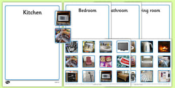 Photo Kitchen, Bedroom, Bathroom and Living Room Sorting Activity - sorting, activity