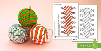 Simple 3D Paper Christmas Baubles Decoration Paper Craft