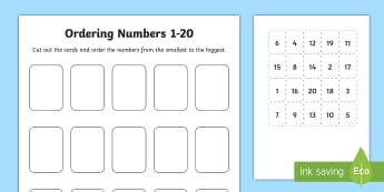 Ordering Numbers Game 1 to 20 - order, number, maths, activity
