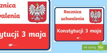 Plakat Rocznica uchwalenia Konstytucji 3 maja - konstytucja, uchwalenie, uchwalenia, patriotyczne, patriota, biało, czerwona, biel, czerwień, flag