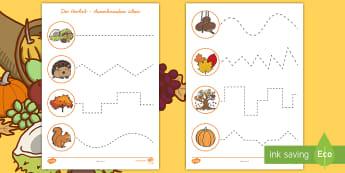 Der Herbst: Ausschneiden üben Arbeitsblätter - Basteln, Schneiden, Igel, herbstlich, Druckschrift, Schreibschrift, ,German