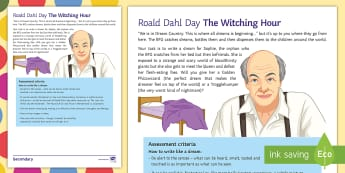 The Witching Hour Activity Sheet - roald Dahl Day, bFG, dreams, narrative, KS3, creative writing