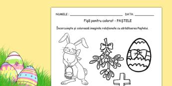 Sărbătoare de Paște - Fișe pentru colorat