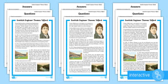 Scottish Engineer Thomas Telford Differentiated Go Respond Activity Sheets - CfE, Scotland, Scottish, famous Scots, significant individuals, science, engineering, STEM, people p