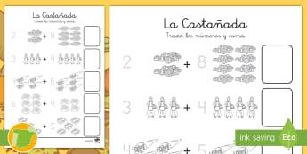 La castañada Sumar hasta 10 - otoño, fiestas, tradiciones, castañas, castañera,Spanish