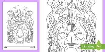 Aztec Mask Colouring Page - Aztec, Aztecs, South America, Mexico,Tribe, Native Americans