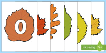 Numbers 0-30 on Autumn Leaves - numbers, 0-30, 30, display, autumn, leaves, autumn leaves, posters, cut outs