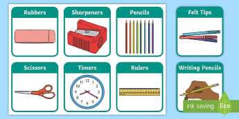 Stationery Flashcards  - flashcards, stationery,  printable, Early Years, EYFS, KS1, KS2