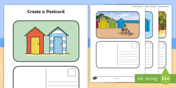 Create a Postcard Beach Hut Themed  Writing Template - Seaside, Write, Holiday, recount, letter, informal, vacation, stamp