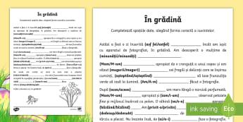 În grădină Scriem corect - Spring, primavara, primăvara, completează, corect, cuvinte, gramatică, fișă de lucru, limba rom