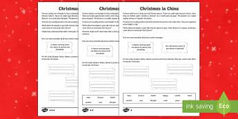 KS2 Celebrating Christmas in China Differentiated Activity Sheet - Christmas, Nativity, Jesus, xmas, Xmas, Father Christmas, Santa, St Nic, worksheet, Saint Nicholas,