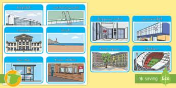 Tarjetas educativas: Lugares de la ciudad - Inglés  - places, town, english, inglés, lengua extranjera, ,Spanish-translation