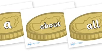 100 High Frequency Words on Coins - High frequency words, hfw, DfES Letters and Sounds, Letters and Sounds, display words