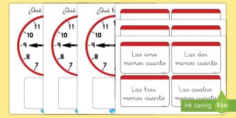 Juego: Emparejar la hora - Menos cuarto - juego, emparejar, hora, tiempo, la hora, menos cuarto, menos quince, reloj, relojes, analógico,Span
