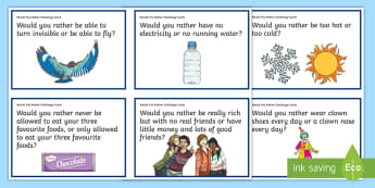 KS2 Would You Rather Challenge Cards - Back to School, getting to know you, sphe, getting to know you, drama, ice-breakers, just for fun, oral language, ,Irish