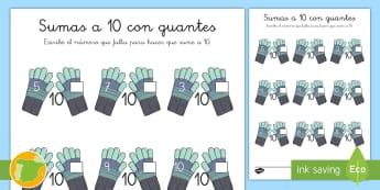 Ficha de actividad: Sumas a 10 - Invierno - navidad, guantes, sumar, mates, adición,Spanish