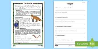 Der Fuchs Leseverstehen Arbeitsblätter - Füchse, Tiere, Waldtiere, Wald, Säugetiere, Lesen, German