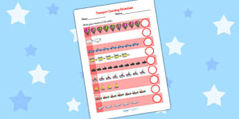 My Counting Worksheet (Transport) - Counting worksheet, transport, counting, activity, how many, foundation numeracy, counting on, counting back, car, van, lorry, bike, motorbike, plane, aeroplane, tractor, truck, bus
